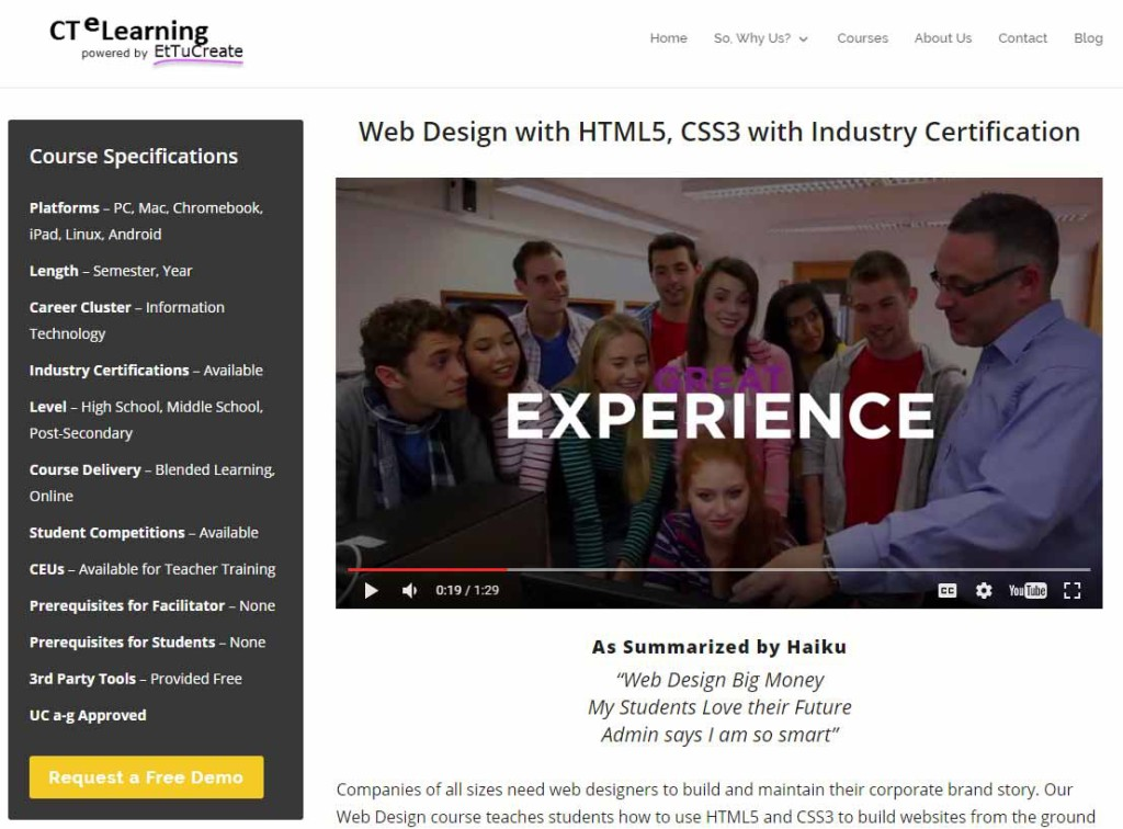 UC a-g Web Design Course HTML5 CSS STEM CTE Industry Certification
