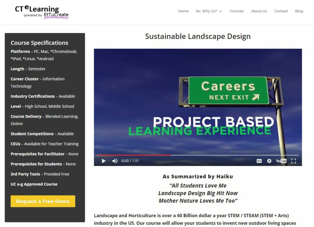 UC a-g approved course CTE STEM Sustainable Landscape Design