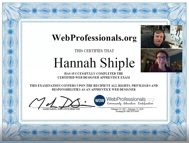 First High School Student to Receive New Web Design Industry Certification